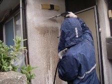 玄関付近の外壁水洗い洗浄