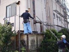 外壁塗装工事仮設足場組立風景4