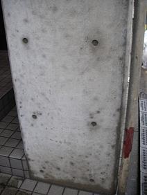 コンクリート塀の苔を水洗い除去後の写真