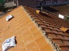 瓦屋根棟漆喰工事1