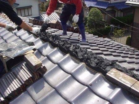 日本瓦漆喰土塗り・瓦用雪止め工事10