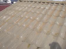 U瓦屋根塗装工事、水洗い後
