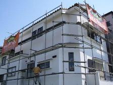 外壁塗装施工後、確認が完了後に足場解体・清掃|埼玉県|外壁塗装