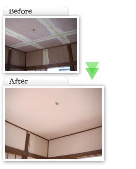部分工事価格一覧|和室6畳繊維繊維壁をベニヤ・クロス天井・壁張替え工事|埼玉県|外壁塗装